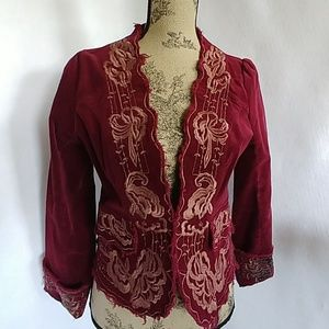 Y Apparel Embroidered Floral Raw Edge Boho Jacket